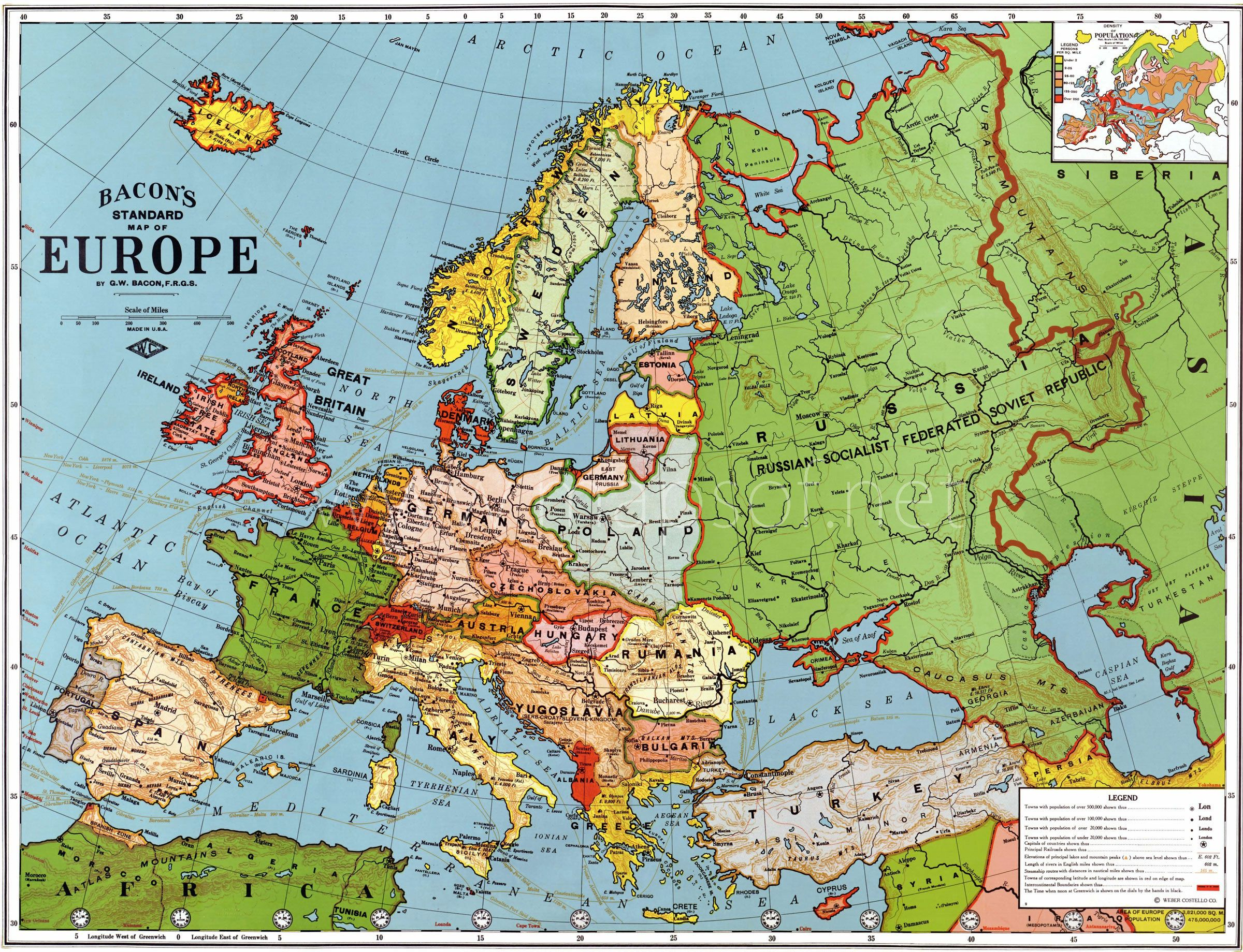 Europe Old Map 1923 For that pin board an actual real life