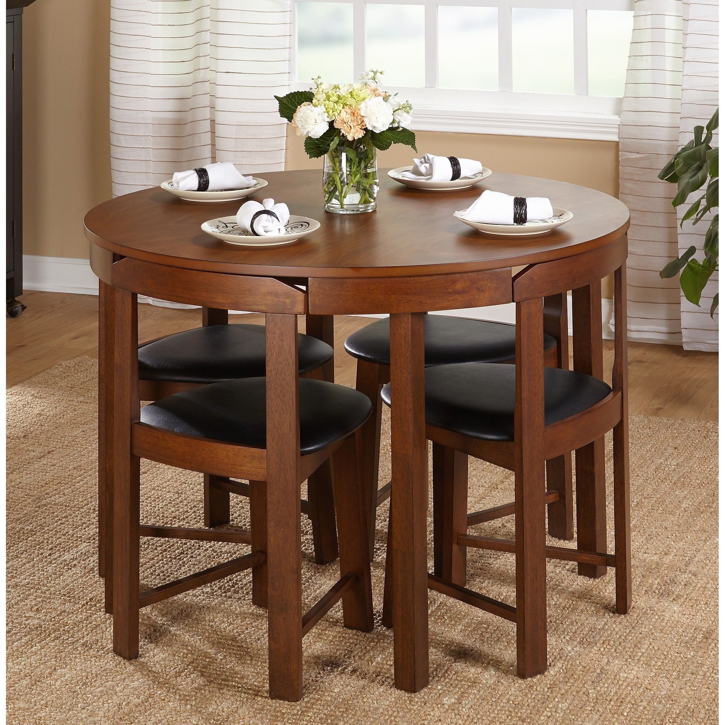 Simple Living 5pc Tobey Compact Dining Set Black Walnut