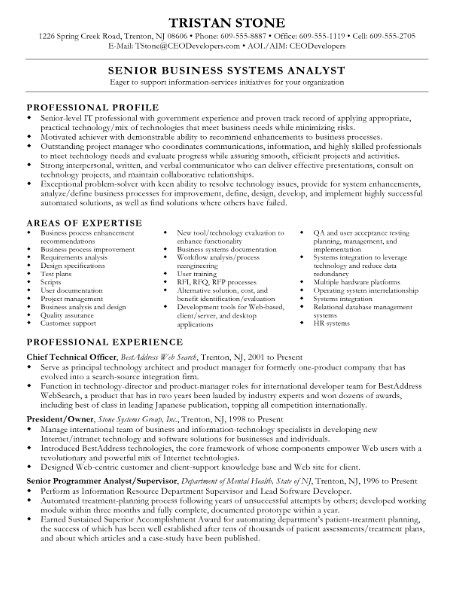 Business Systems Analyst Resume -   getresumetemplateinfo/3637