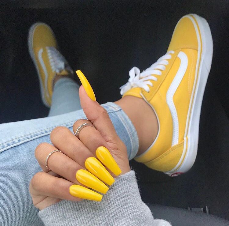 Yellow vans, Yellow nails, Outfit shoes
