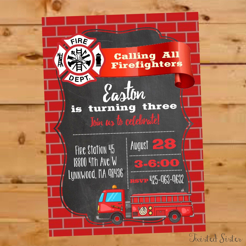 Firefighter birthday Firetruck Birthday Invitation Fireman