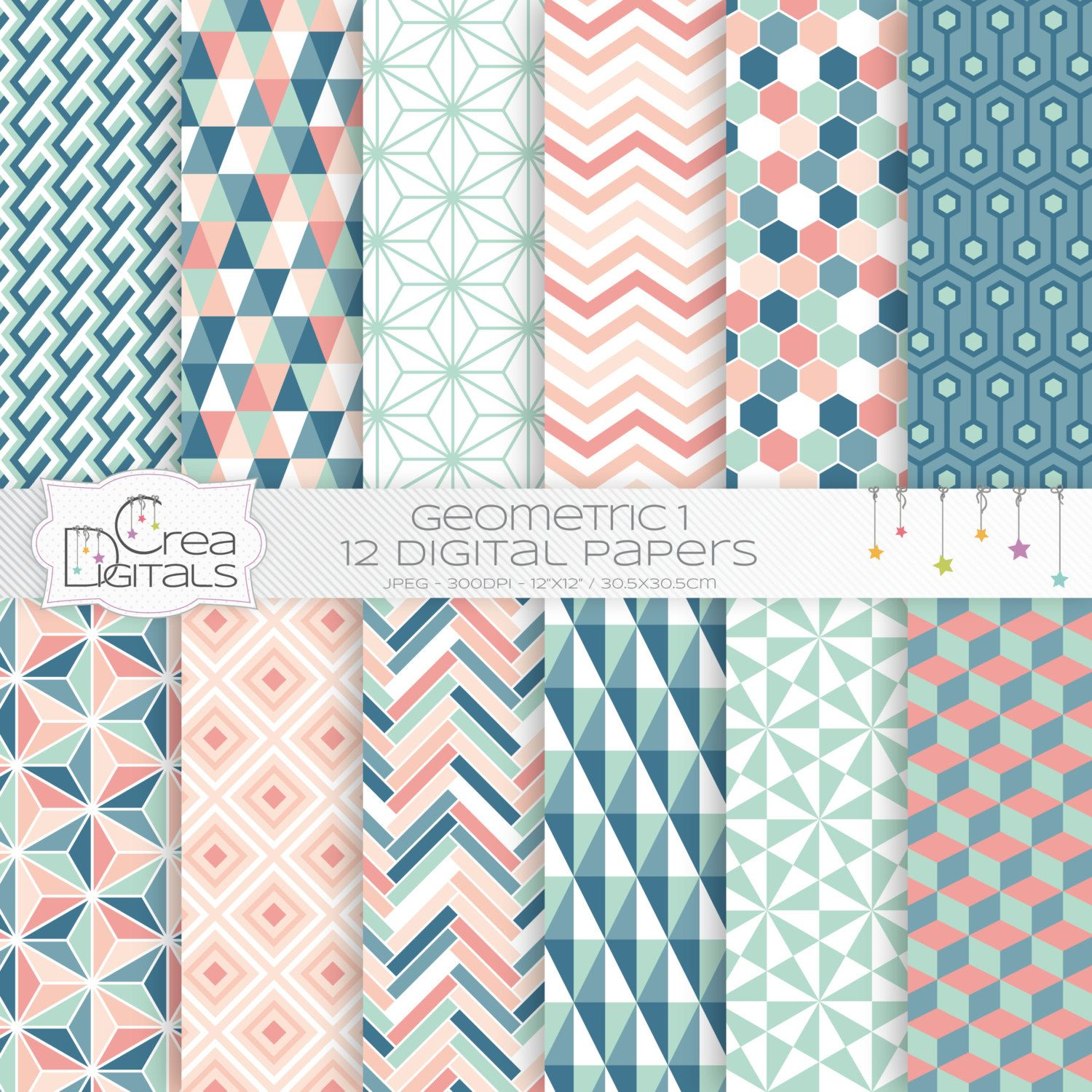 Hand drawn coral digital paper chevron paper arrow paper  personal and commercial use instant download
