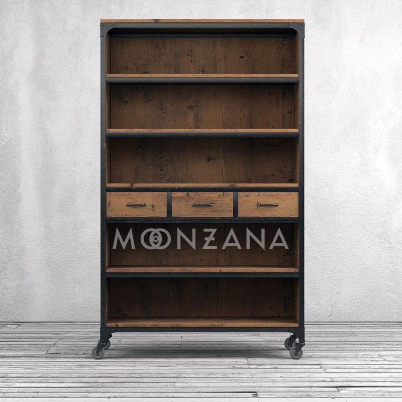 Книжный шкаф Глазго Брашированная сосна, металл, резин, фанера