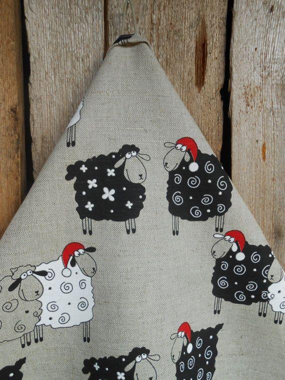 Christmas Towel Sheep Tea Towel Kitchen Towel Christmas Sheep Christmas Tea Towel Yarn Gift DishTowel Lamb Towel Gift Christmas Decor #dishtowels