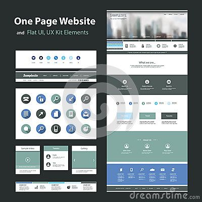 One page website design template and flat ui ux elements uiux one page website design template and flat ui ux elements maxwellsz