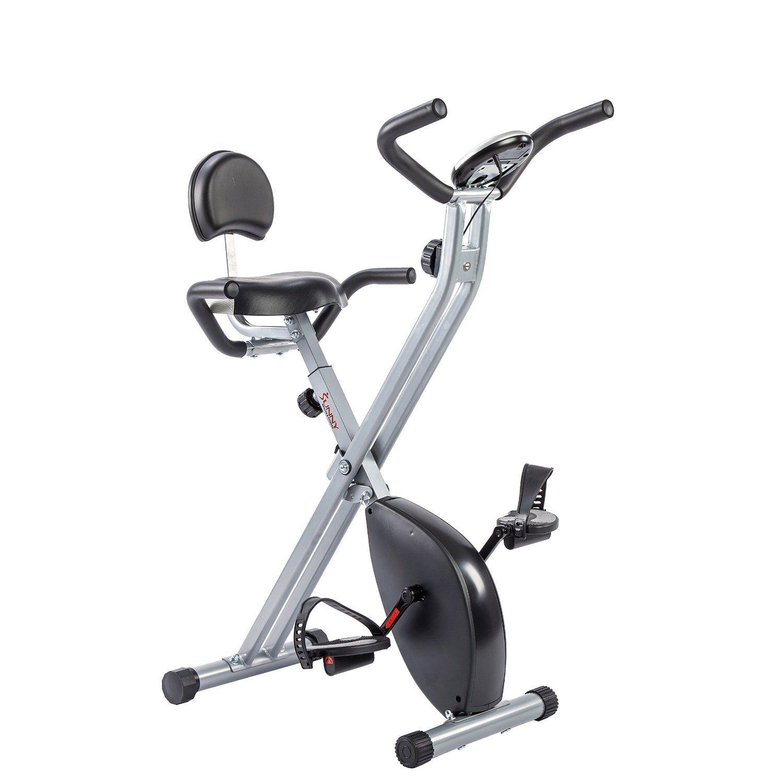 Sunny Health Fitness Folding Recumbent Bike Best Exercise Bike No Equipment Workout Biking Workout