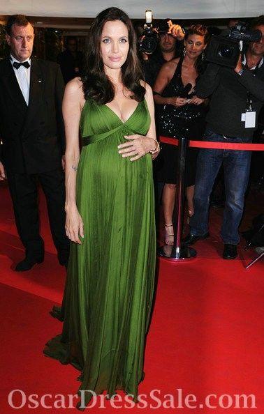 81ee041395f V Neck Empire Chiffon Floor Length Green Angelina Jolie Maternity Dress  Oscar