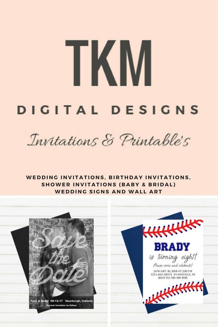 TKM Digital Designs Etsy Shop for Wedding Invitations, Save the ...