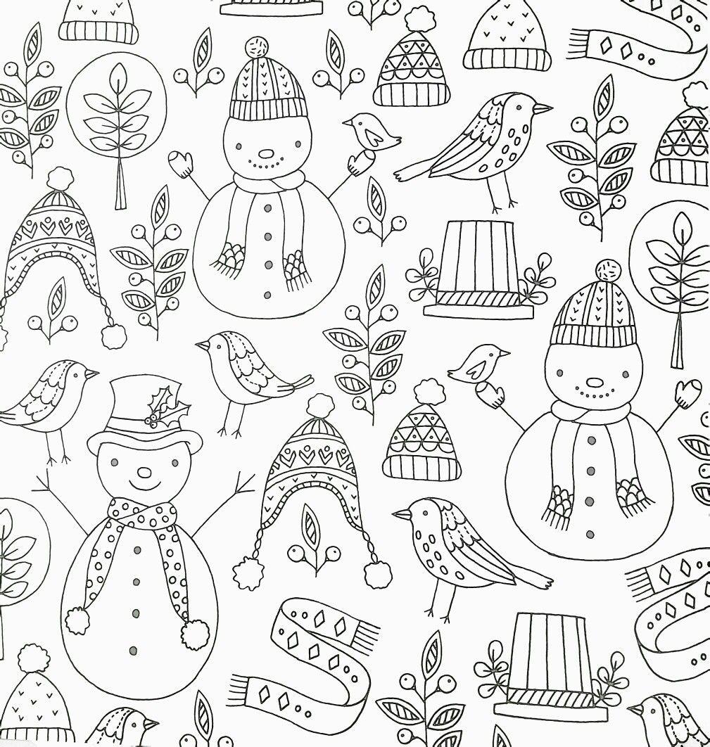 winter adult coloring page (snowmen, birds, hats, etc