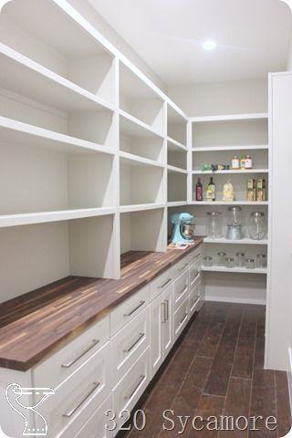 Long Pantry And Butcher Block Love The Idea Of Butcher Block But Wouldn T Know Where To Put I As I Don T Long Pantry In 2020 Pantry Design Pantry Room Pantry