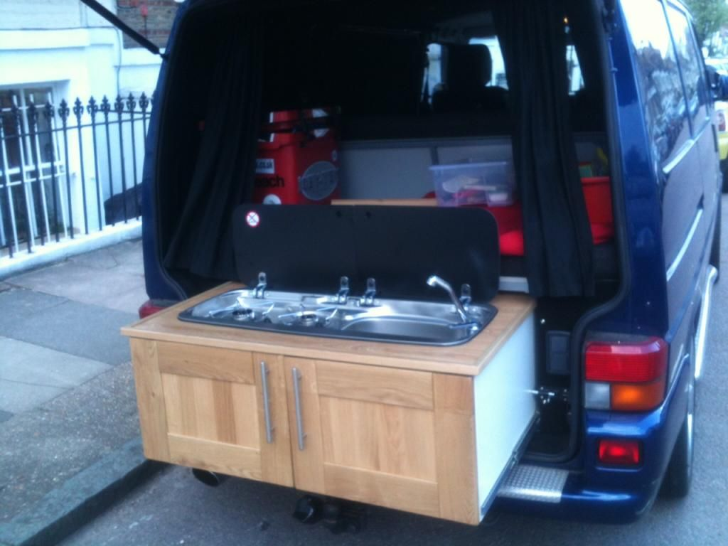 Rear pull out draw style kitchen on rails page 3 vw for Campervan kitchen ideas