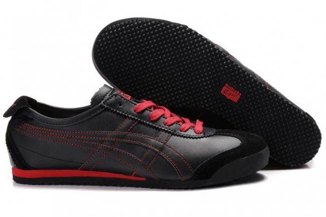 Mens Onitsuka Tiger Mexico 66 Black Red Shoes