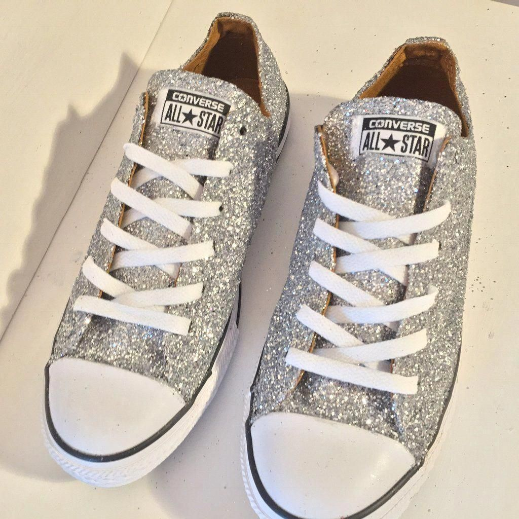 c473075df69c Womens Sparkly Silver Glitter Converse All Stars Sneakers Shoes wedding  prom bride  Promshoes