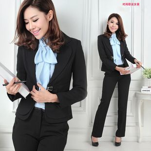 formal black and white womens pants suit colored