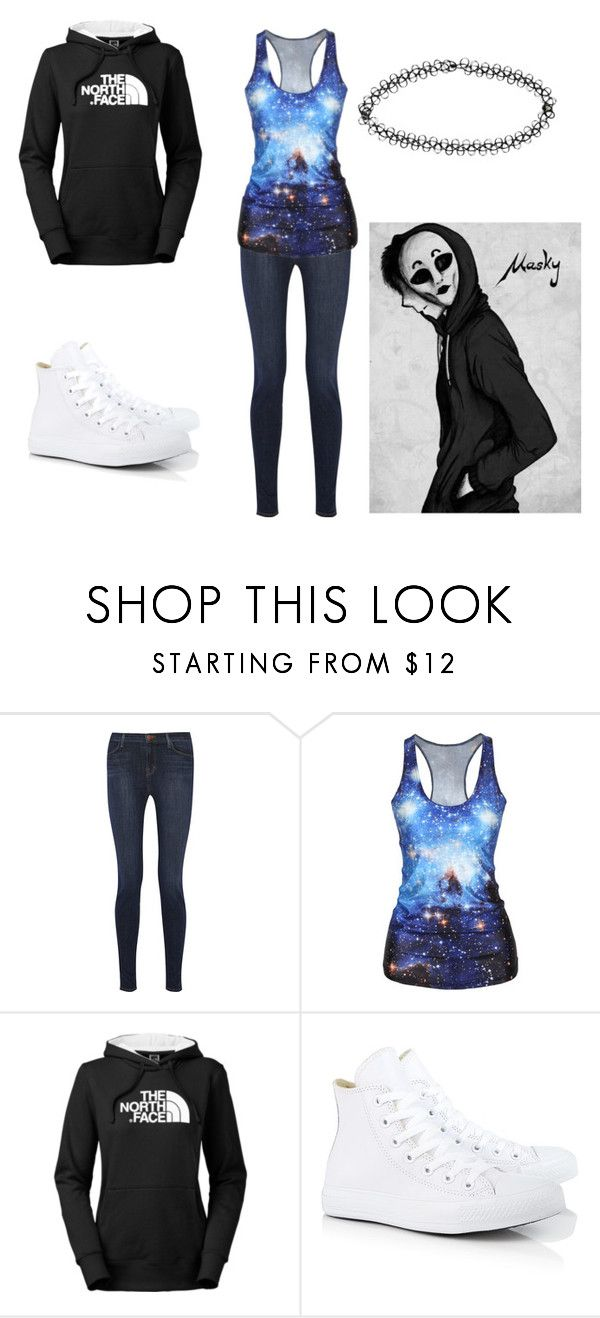 """Masky #2"" by ariettav ❤ liked on Polyvore featuring J Brand, The North Face, Converse and Boohoo"