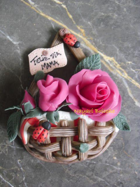 Cyri porcelana fria: Cesta con rosas (dia de la madre)