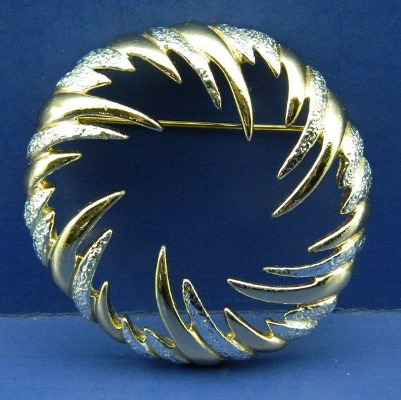 This Is A Vintage Gold And Silver Tone Metal Brooch Signed