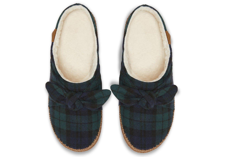 3ebb528b2de Spruce Plaid Felt Bow Women s Ivy Slippers