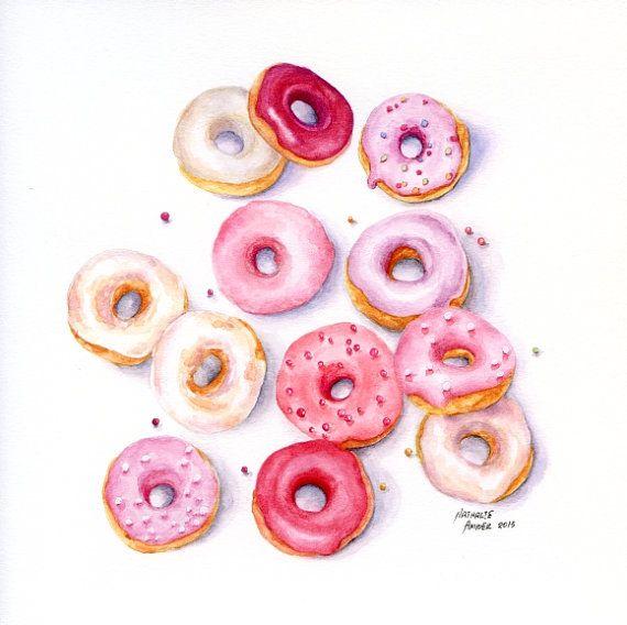 Mini Pink Doughnuts - ORIGINAL Painting (Still Life, Kitchen Wall Art, Watercolour Food Illustration)