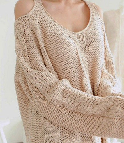 Warm Beige Off The Shoulder Chunky Knitted Sweater. Cozy Knit Top ...