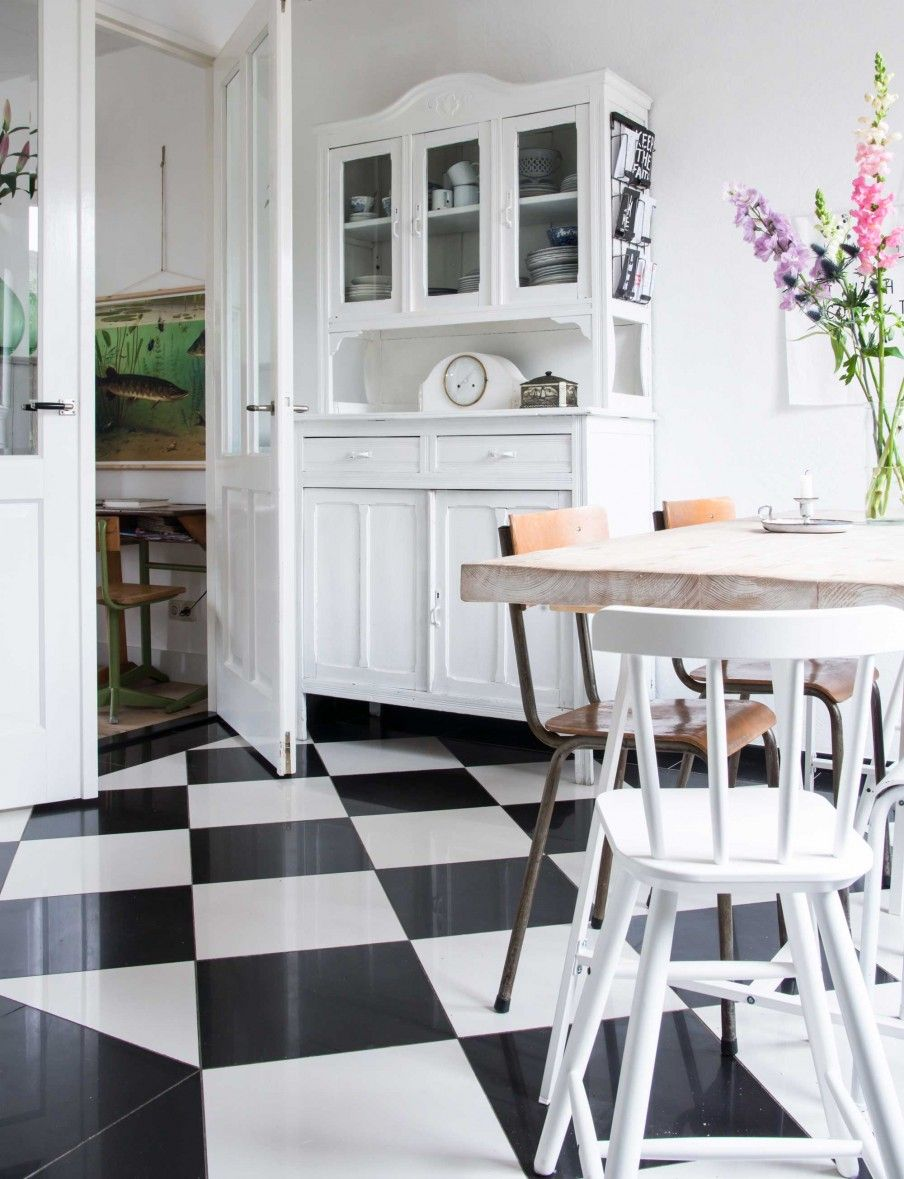 keuken muurtegels : Keuken Met Zwart Witte Tegels Kitchen With Black And White Tiles
