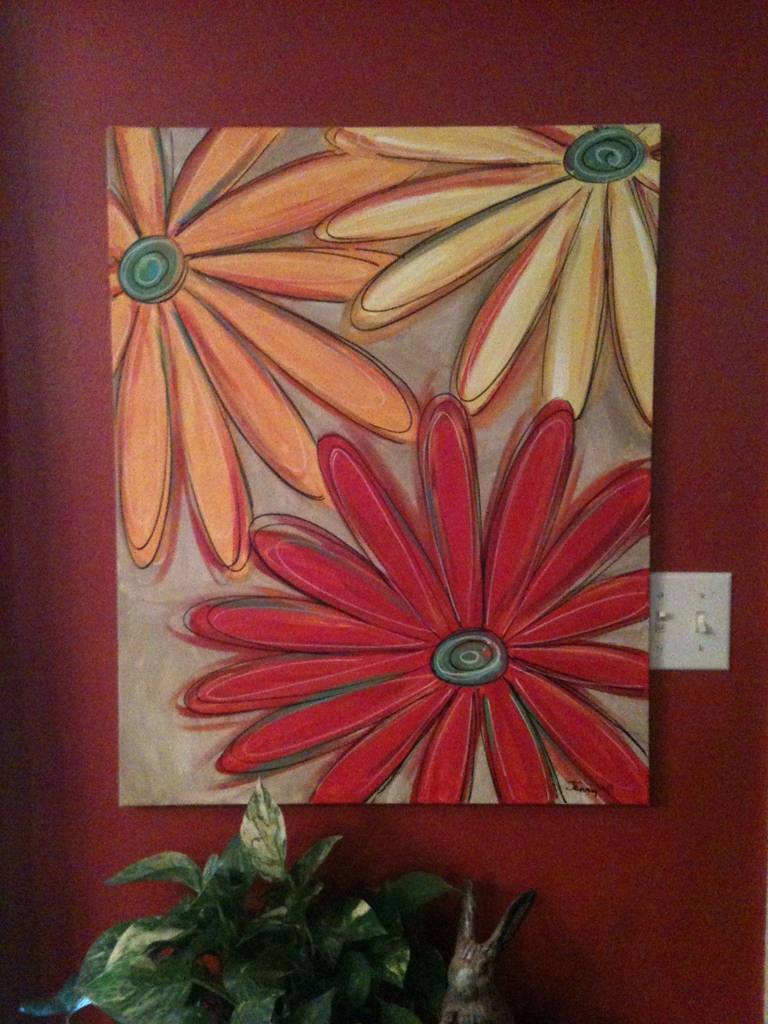 Acrylic painting ideas daisy painting jenny hall art for Acrylic canvas ideas