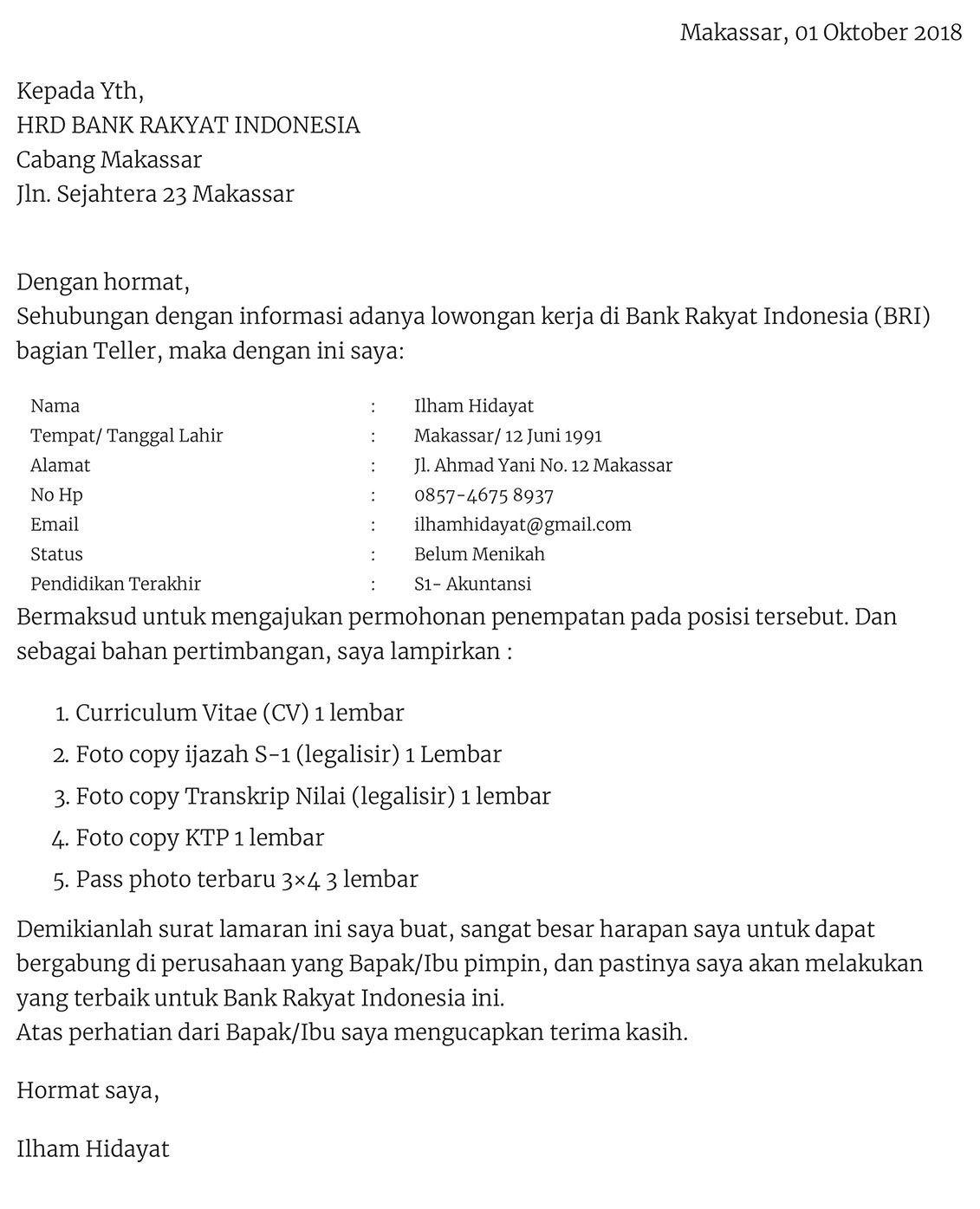Contoh Surat Lamaran Kerja Security Di Bank Bri Lettering Surat Bri