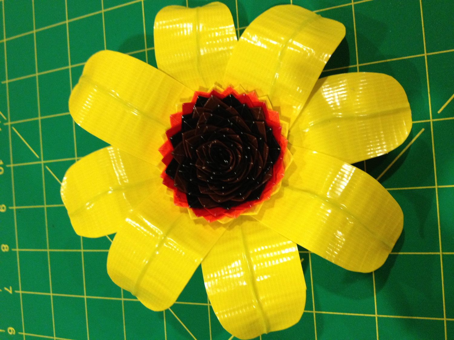 Duct Tape Sunflower Hair Tie.