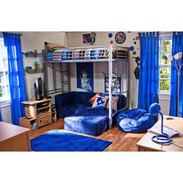 Blue Loft Bed Couch In 2019 Boys Loft Beds Bedroom Loft
