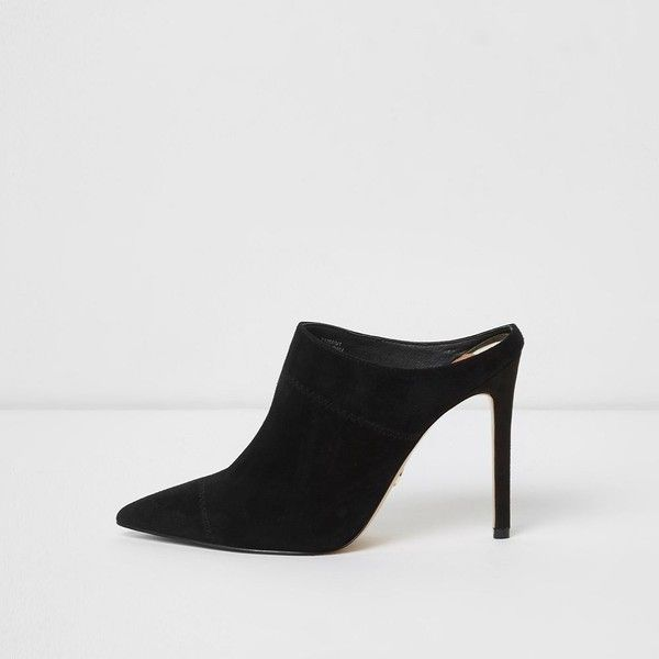 e9520adcfe0d River Island Black pointed heeled mule pumps ( 110) ❤ liked on Polyvore  featuring shoes