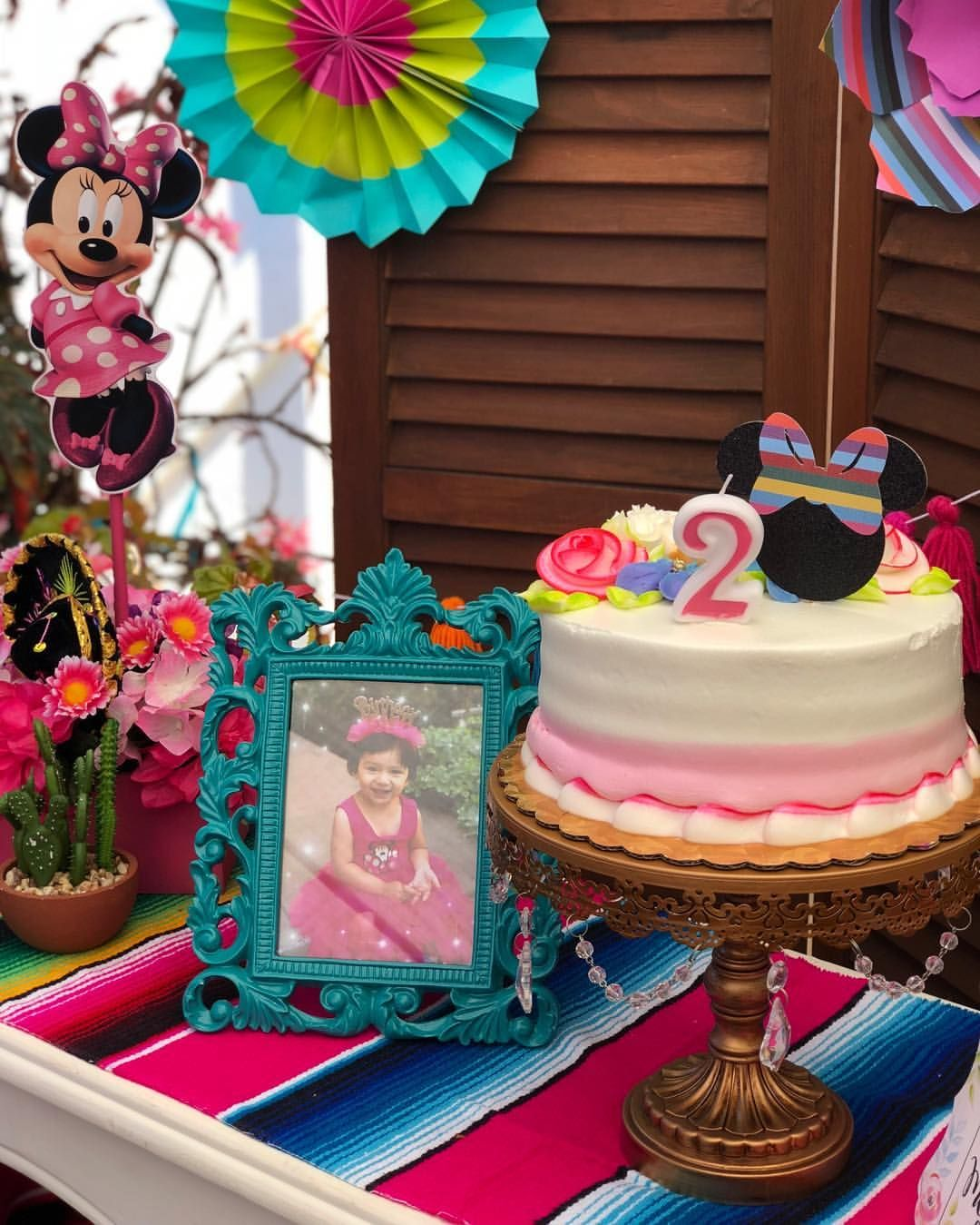 Chicpartygoods On Instagram Minnie Mouse Cutouts With Serape Bows Were So Cute Wanted To Use Them Everywhere Here I Used As A Cake Topper You