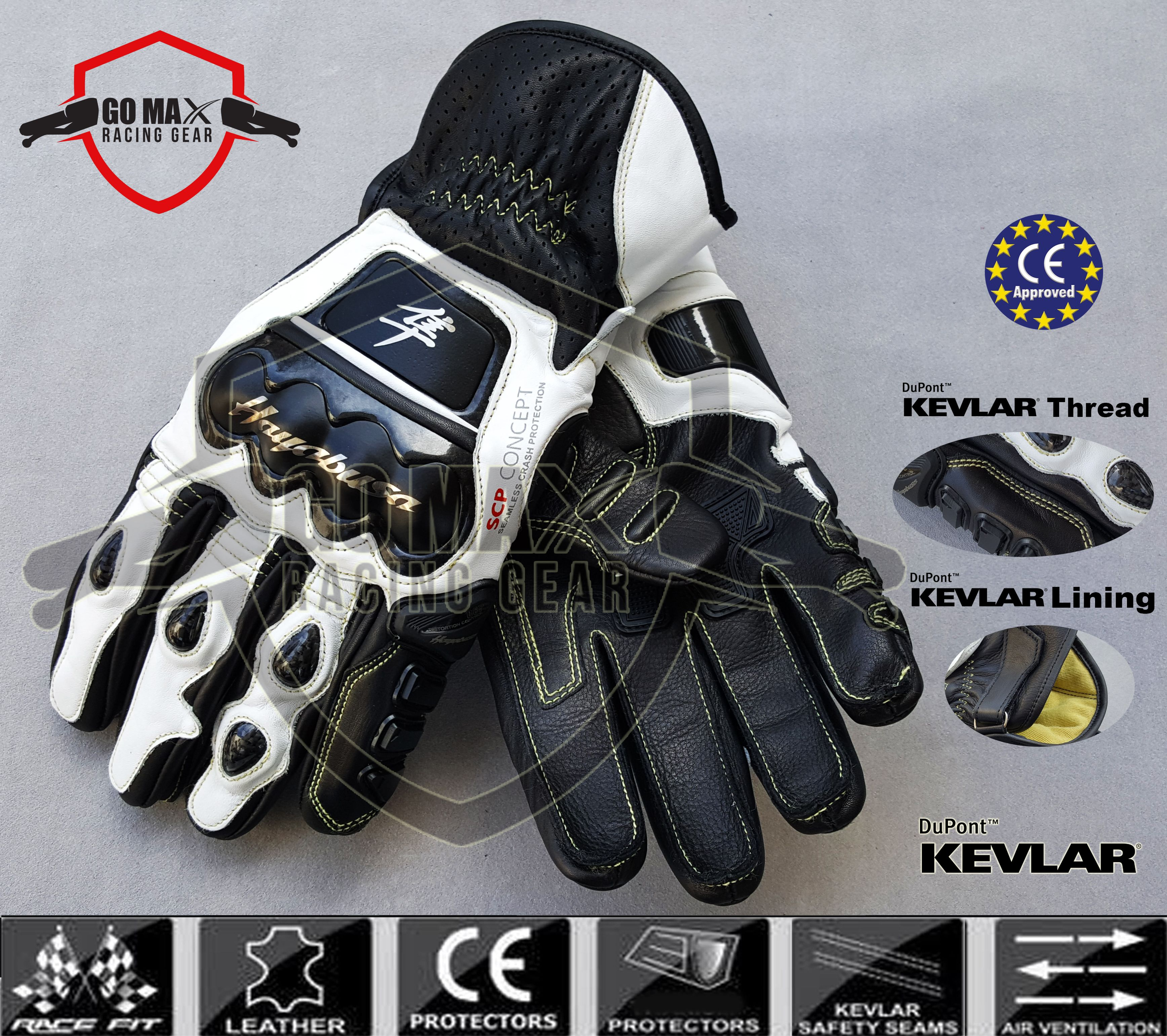 Suzuki Hayabusa Short Leather Racing Gloves Features Soft Inserts Microelastic Elasticated Inserts Elas Motorbike Leathers Leather Protector Suzuki Hayabusa