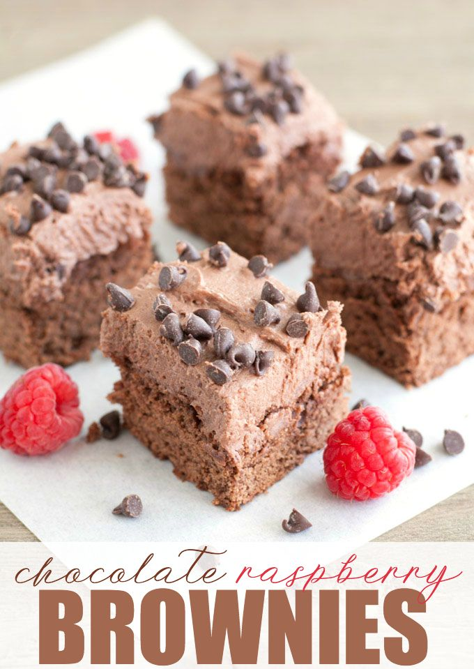 Chocolate Raspberry Brownies - Rich, knock-your-socks off good! These fudgy brownies are made from scratch and topped with a creamy chocolate raspberry frosting.