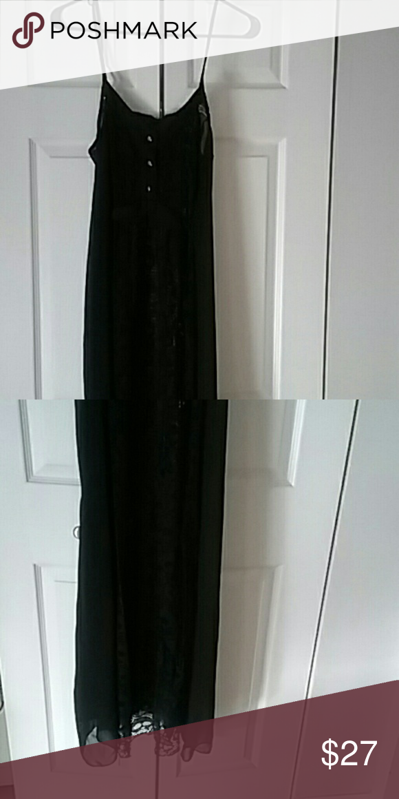 Long Black Sheer Nightgown Lace and sheer Intimates & Sleepwear Chemises & Slips