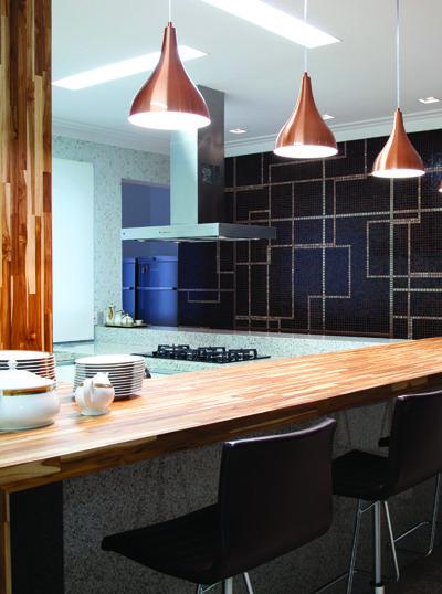Pendentes cobre na bancada da cozinha  cozinha  Pintere # Bancadas De Cozinha Com Pendentes
