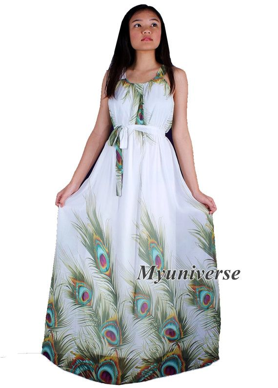 1d8ba2392d77e Plus Size Dresses White Dress Peacock Dress Maxi Dress Women ...
