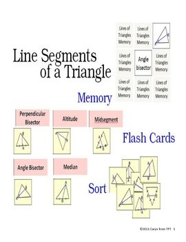 Special Line Segments Of Triangle Sorting Activity Median Altitude