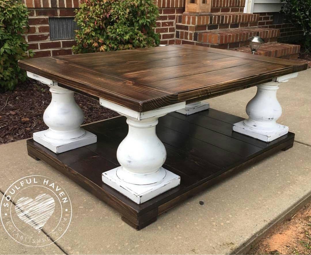 Custom balustrade coffee table built using 7x10 turned