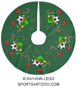 dancing christmas soccer elf brushed polyester tree skirt by sportsartzoo