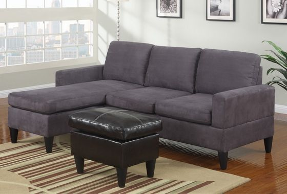 3 pc grey microfiber apartment size sectional sofa with reversible chaise and faux leather - Apartment size living room furniture ...