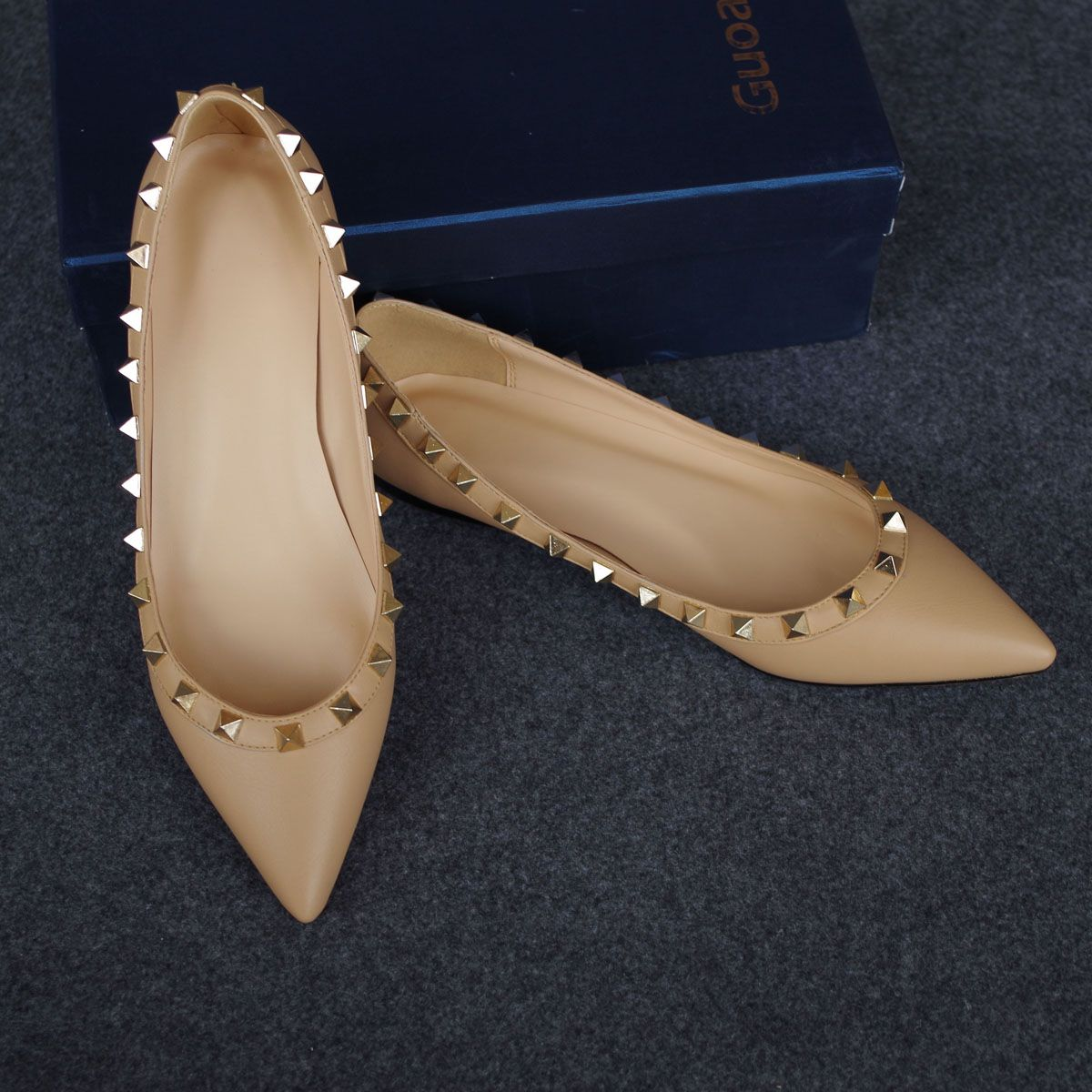 Women Pointed Toe Rivet Flats Shoes Studded Slip On  Ballet Loafers #SARA-2