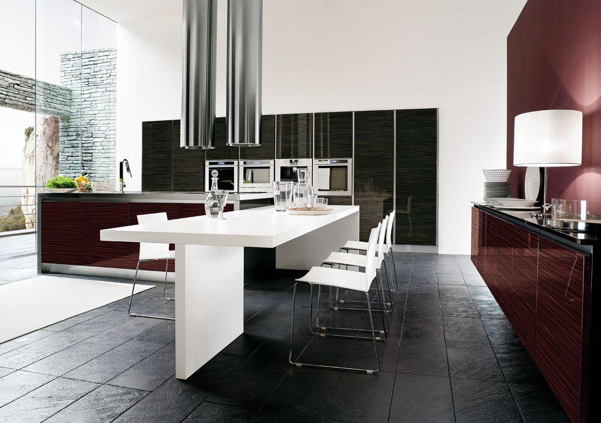 Cucina Moderna Antracite E Rosso Mogano Charme Model Kitchen Design Kitchen Style Kitchen Styling Modern
