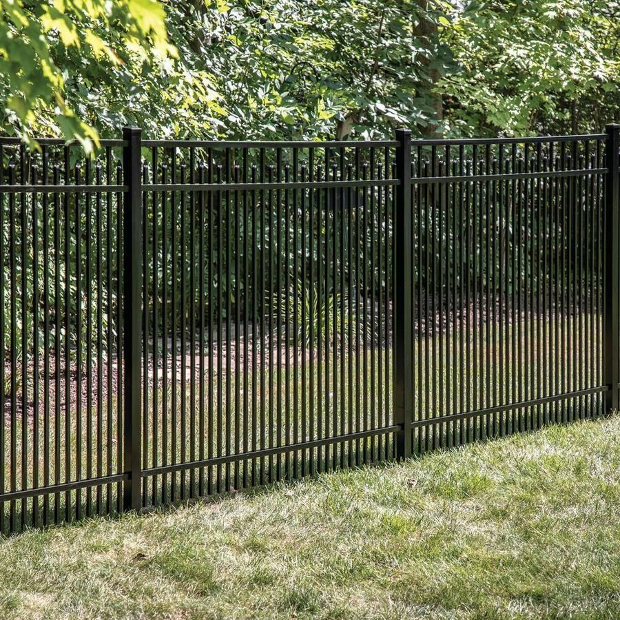 Freedom Actual 4 91 Ft X 6 02 Ft Standard York Black Aluminum Flat Top Decorative Metal Fence Panel Lowes Com In 2020 Metal Fence Panels Metal Fence Fence Panels