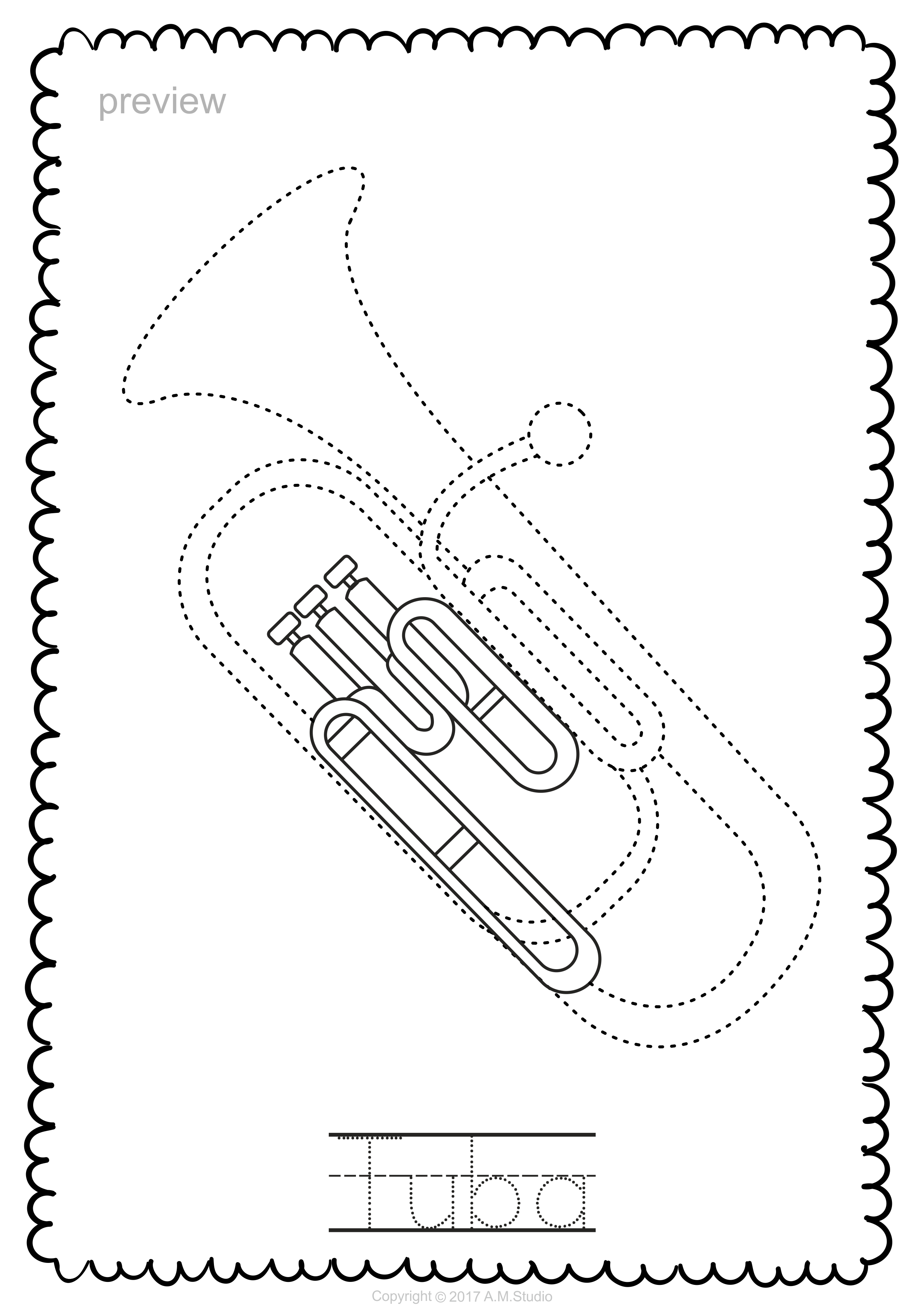 Brass Instruments Trace And Color Pages With Images