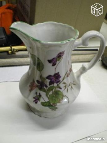 Pot porcelaine Chauvigny decor fleurs violettes džbány,konvice