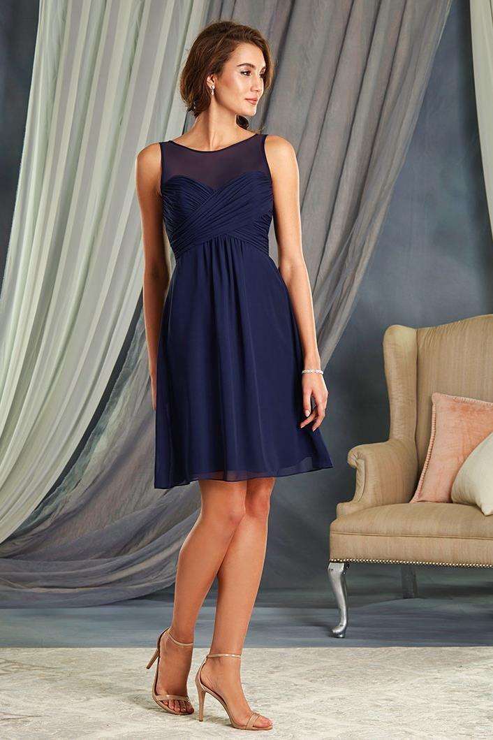 This cute navy blue bridesmaid dress