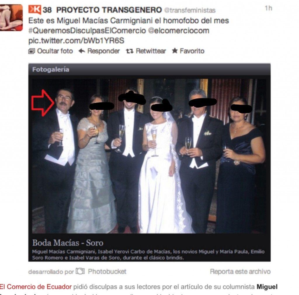 El Comercio de Ecuador se disculpa por artículo homofóbico de su columnista.