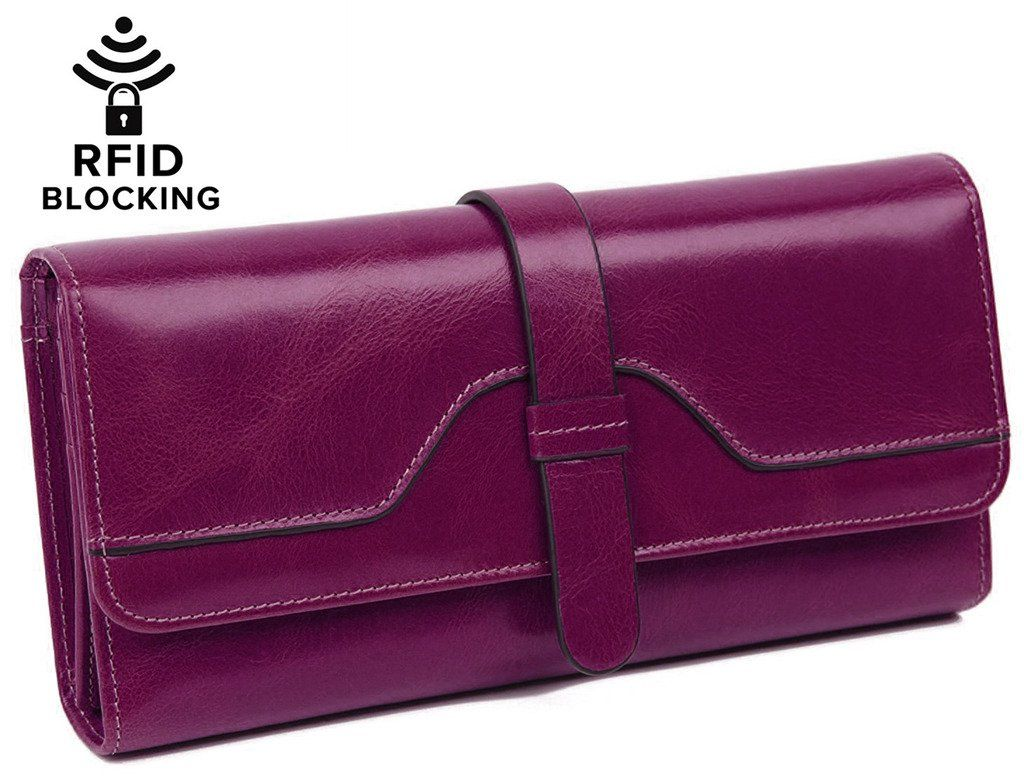 BIG SALE- 60% OFF- YALUXE Women's RFID Blocking Luxury Leather Trifold Wallet Shield Against Identity Theft Purple