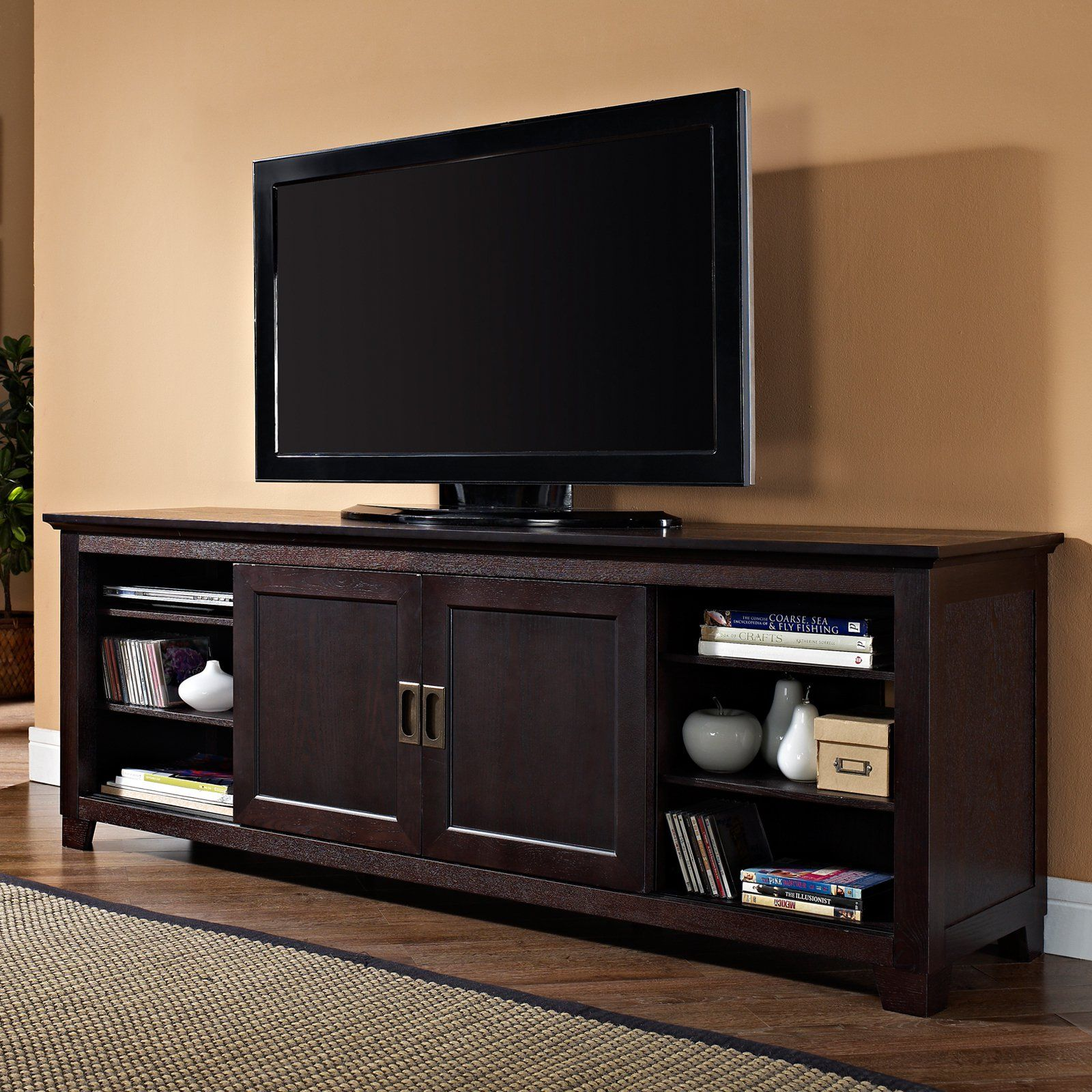 Walker Edison 70 In Wood Tv Stand With Sliding Doors Espresso Tv Stand Wood Sliding Door Tv Stand Espresso Tv Stand