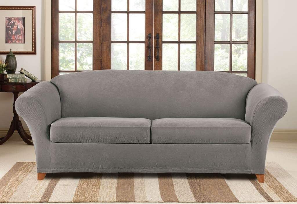 Stretch Pique Three Piece Sofa Slipcover Form Fitting